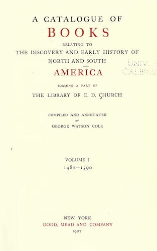 Andes - A Catalogue of Books Relating to the History of America Vol. 1