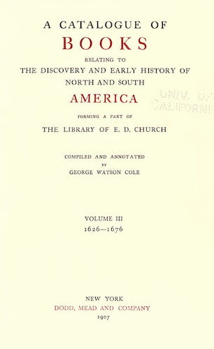 New World - A Catalogue of Books Relating to the History of America Vol. 3