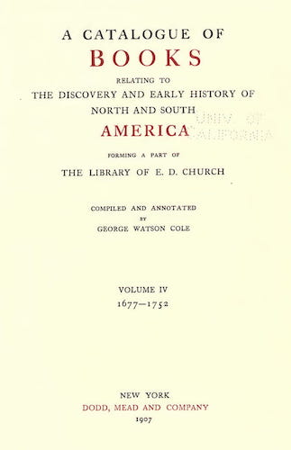 New World - A Catalogue of Books Relating to the History of America Vol. 4