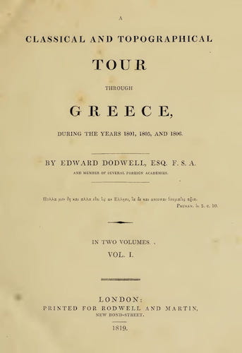 Aquatint & Lithography - A Classical and Topographical Tour Through Greece Vol. 1