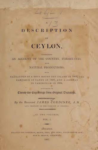 Maldives - A Description of Ceylon Vol. 1