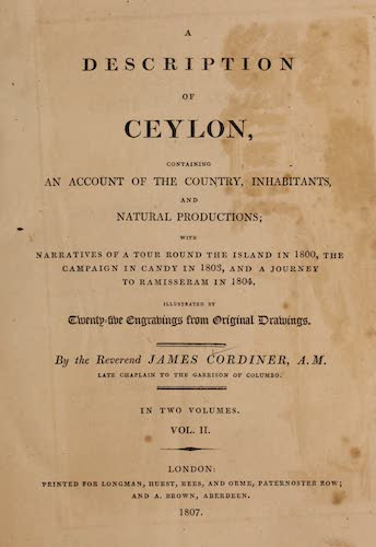 Aquatint & Lithography - A Description of Ceylon Vol. 2