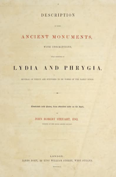 A Description of some Ancient Monuments in Lydia and Phyrgia - Title Page (1842)