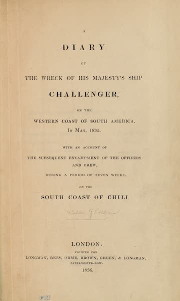 A Diary of the Wreck of His Majesty's Ship Challenger - Title Page (1836)