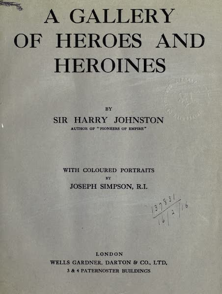 A Gallery of Heroes and Heroines - Title Page (1915)