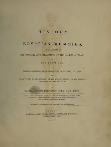 Aquatint & Lithography - A History of Egyptian Mummies