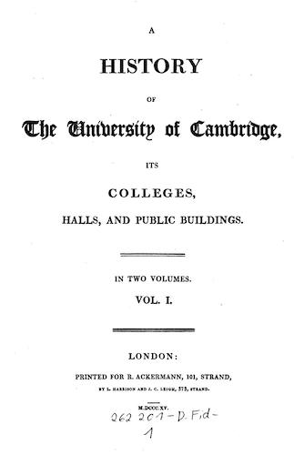 Aquatint & Lithography - A History of the University of Cambridge Vol. 1