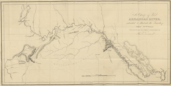 A Journal of Travels into the Arkansa Territory - A Map of the Arkansas River by H.S. Tanner (1821)