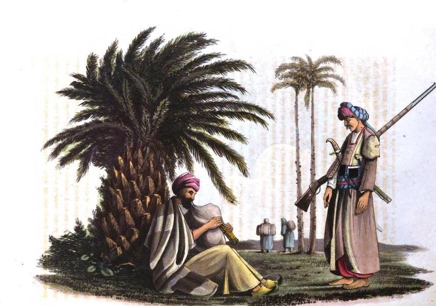 A Journey from India to England - An Arab Bagpiper and Soldier (with women carrying water in the distance) (1818)