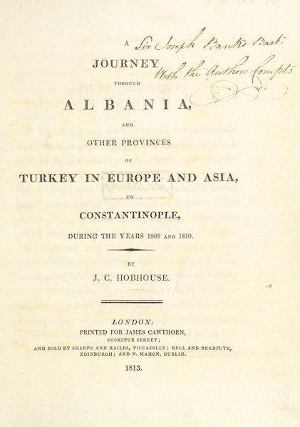 A Journey through Albania, and other Provinces of Turkey - Title Page (1813)