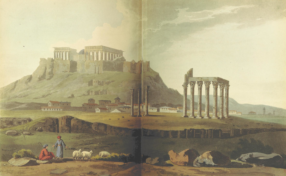A Journey through Albania, and other Provinces of Turkey - Ruins of Hadrian's Temple, with a View of the South-East Angle of the Acropolis and Parthenon (1813)