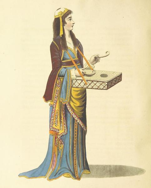 A Journey through Albania, and other Provinces of Turkey - A Turkish Female Lave, playing on the Dulcimer (1813)