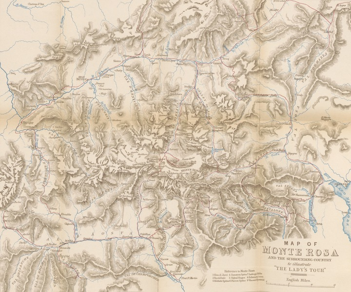 A Lady's Tour Round Monte Rosa - Map of Monte Rosa (1859)