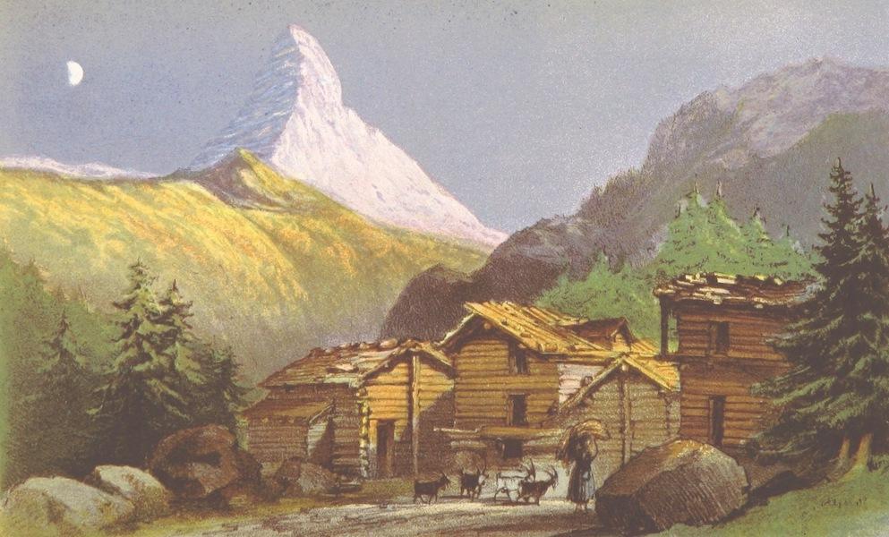 A Lady's Tour Round Monte Rosa - Mont Cervin (from above Zermatt), Sunset (1859)