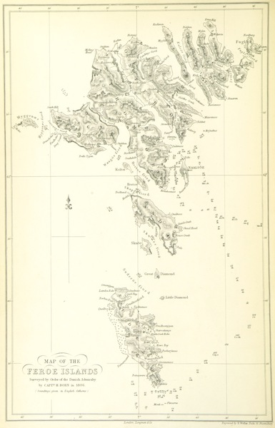 A Narrative of the Cruise of the Yacht Maria - Map of the Faroe Islands (1855)
