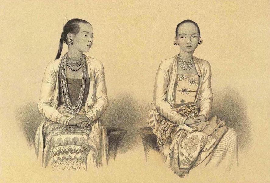 A Narrative of the Mission to the Court of Ava - Portraits of Two Talain Young Ladies Daughters of the Native Judge of Prome (1858)
