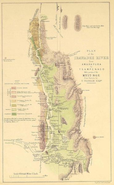 A Narrative of the Mission to the Court of Ava - Plan of the Irawadee River from Amarapura to Tsampenago (1858)