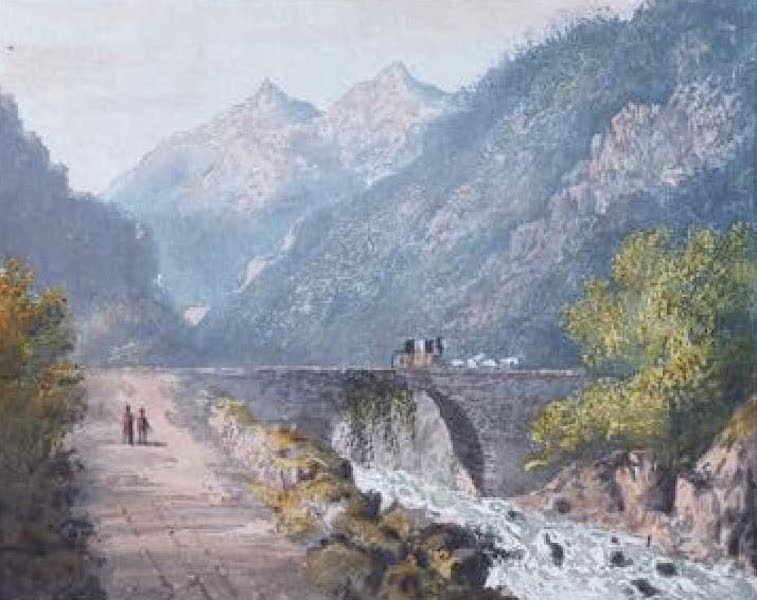 A Picturesque and Descriptive Tour in the Mountains of the High Pyrenees - The Bridge over the Gave at Betharem (1825)