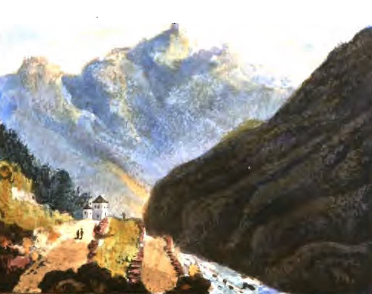 A Picturesque and Descriptive Tour in the Mountains of the High Pyrenees - Bath of La Ralliere, looking towards Cauterets (1825)