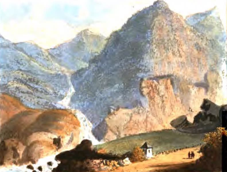 A Picturesque and Descriptive Tour in the Mountains of the High Pyrenees - Cascade of Lutour, as seen from the Bath of La Ralliere (1825)