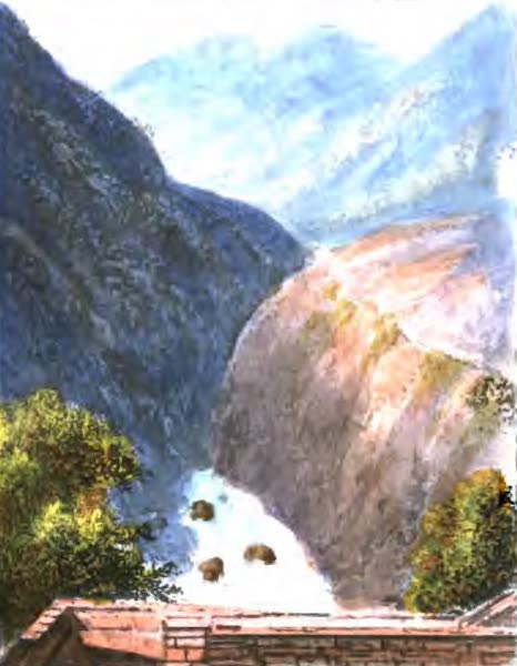 A Picturesque and Descriptive Tour in the Mountains of the High Pyrenees - View from the Bridge of Sia (1825)