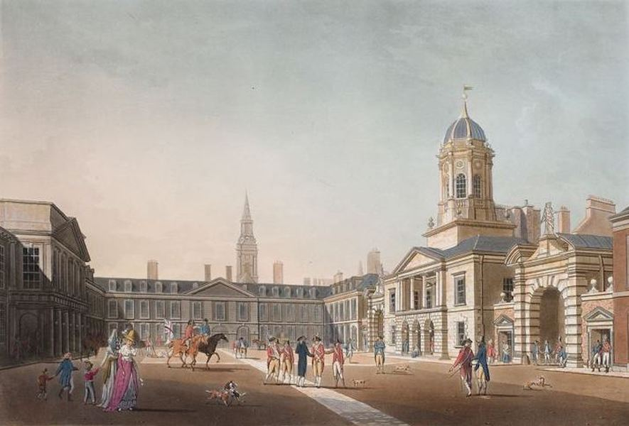 A Picturesque and Descriptive View of the City of Dublin - Great Court Yard, Dublin Castle (1811)