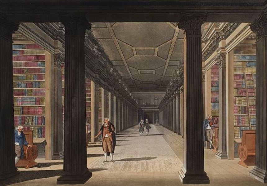 A Picturesque and Descriptive View of the City of Dublin - College Library, Dublin (1811)