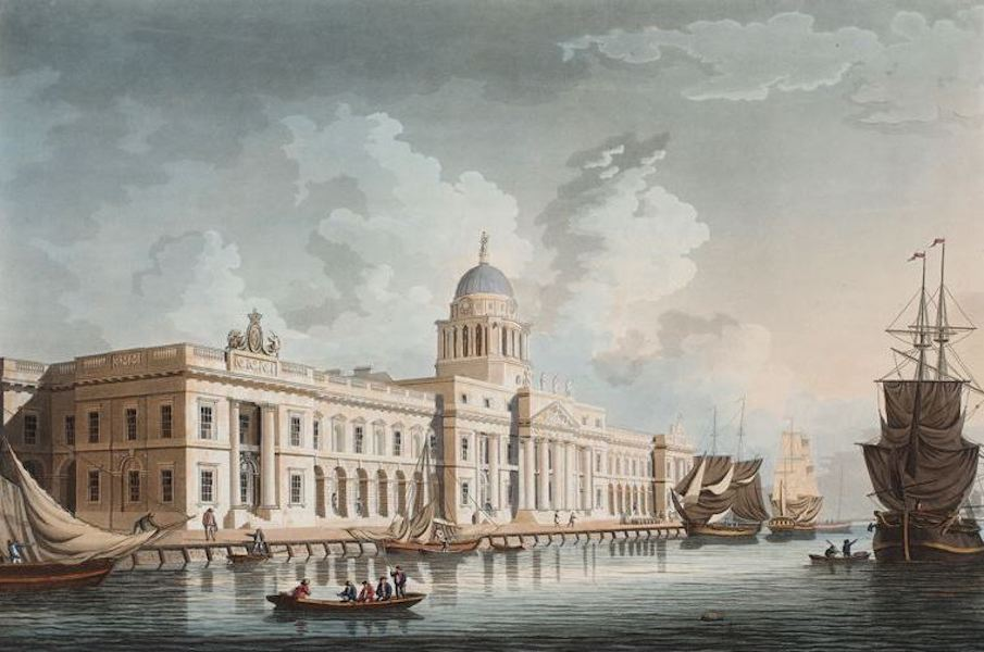 A Picturesque and Descriptive View of the City of Dublin - Custom House, Dublin (1811)