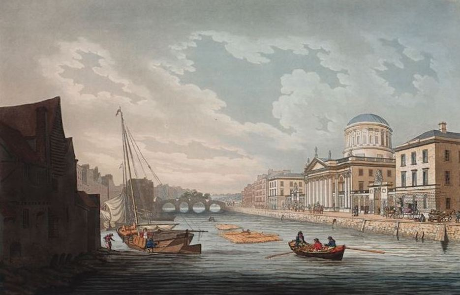 A Picturesque and Descriptive View of the City of Dublin - View of the Law Courts looking up the Liffey, Dublin (1811)