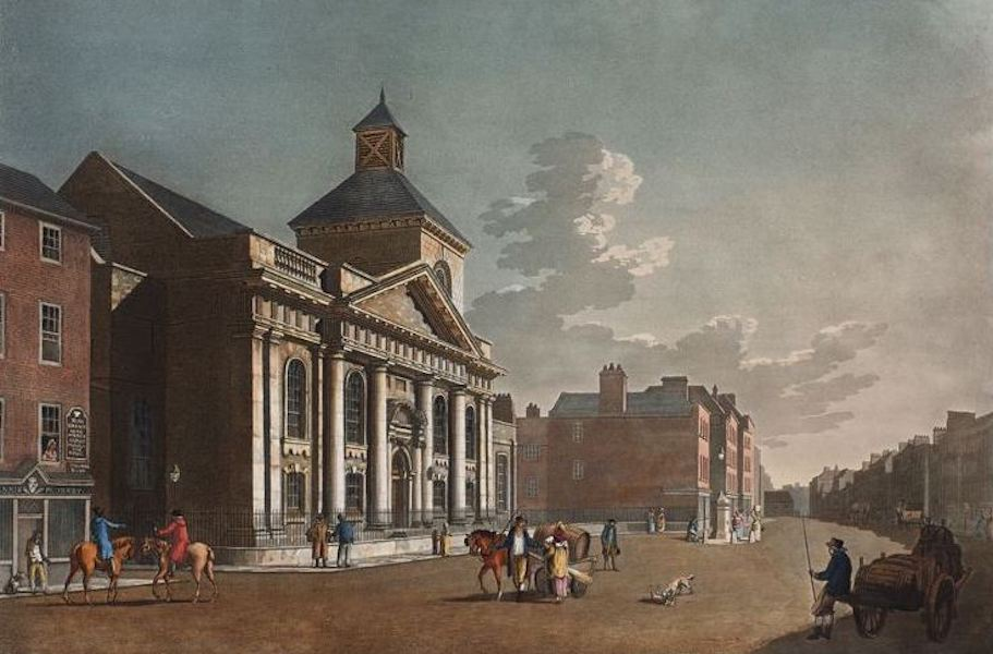 A Picturesque and Descriptive View of the City of Dublin - St. Catherines Church Thomas Street, Dublin (1811)