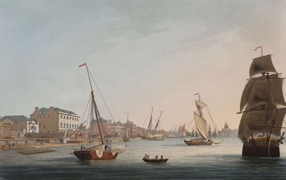 A Picturesque and Descriptive View of the City of Dublin - Marine School, Dublin - Looking up the Liffey (1811)