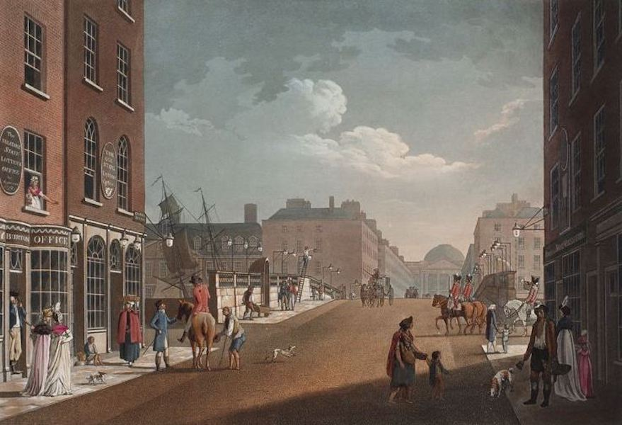 A Picturesque and Descriptive View of the City of Dublin - View From Capel Street Looking Over Essex Bridge, Dublin (1811)