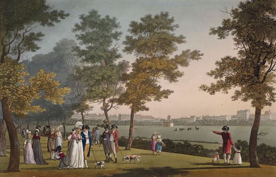A Picturesque and Descriptive View of the City of Dublin - St. Stephens Green, Dublin (1811)