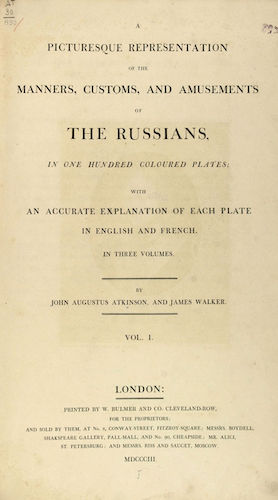 Aquatint & Lithography - A Picturesque Representation of the Russians Vol. 1