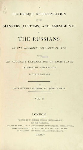 Aquatint & Lithography - A Picturesque Representation of the Russians Vol. 2