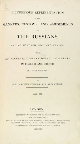Aquatint & Lithography - A Picturesque Representation of the Russians Vol. 3