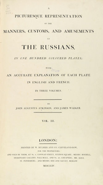 A Picturesque Representation of the Russians Vol. 3 - Title Page (1804)