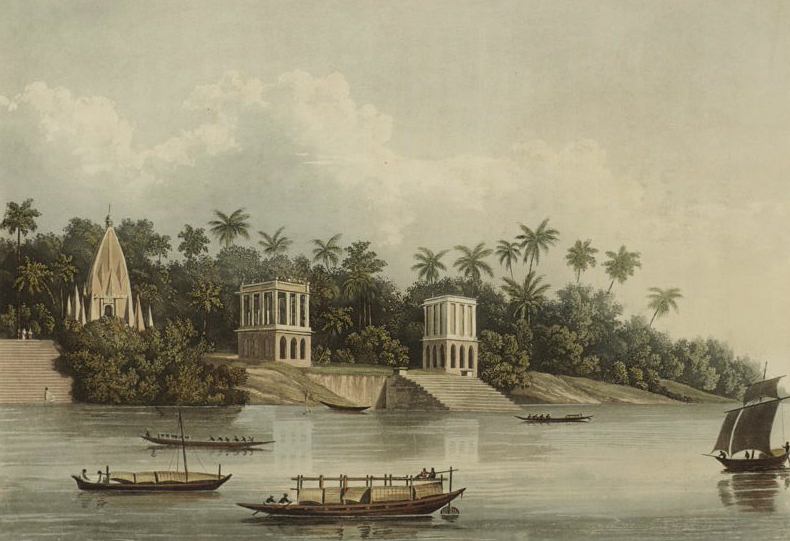 A Picturesque Tour Along the Rivers Ganges and Jumna, in India - Hindoo Pagodas below Barrackpore on the Ganges (1824)