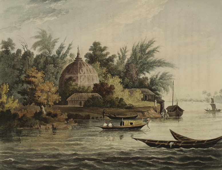 A Picturesque Tour Along the Rivers Ganges and Jumna, in India - Hindoo Village on the Ganges near Ambooah (1824)