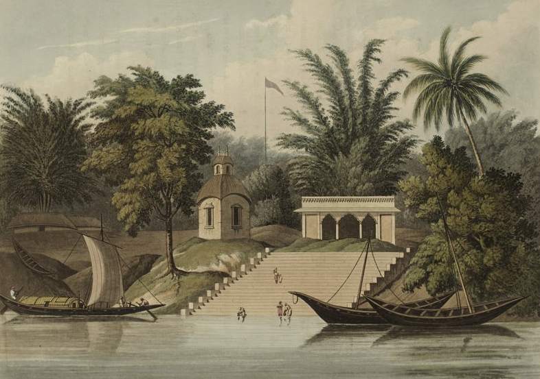 A Picturesque Tour Along the Rivers Ganges and Jumna, in India - Ghaut of Cutwa on the Ganges (1824)