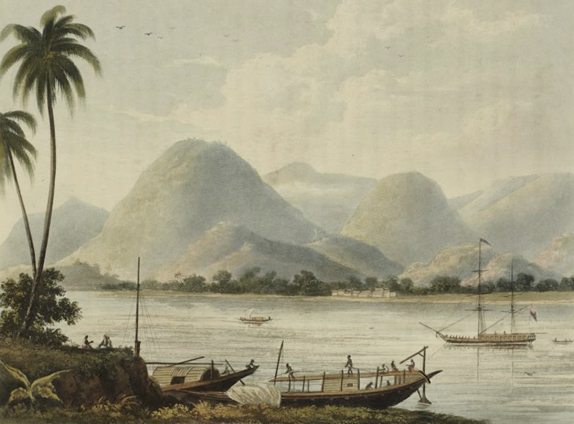 A Picturesque Tour Along the Rivers Ganges and Jumna, in India - Mountains of Rajemahal where they Descend to the River (1824)
