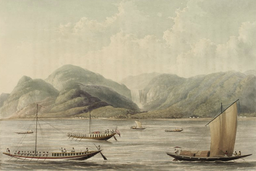 A Picturesque Tour Along the Rivers Ganges and Jumna, in India - The Motee Girna, or Falls in the Rajemahal Hills (1824)