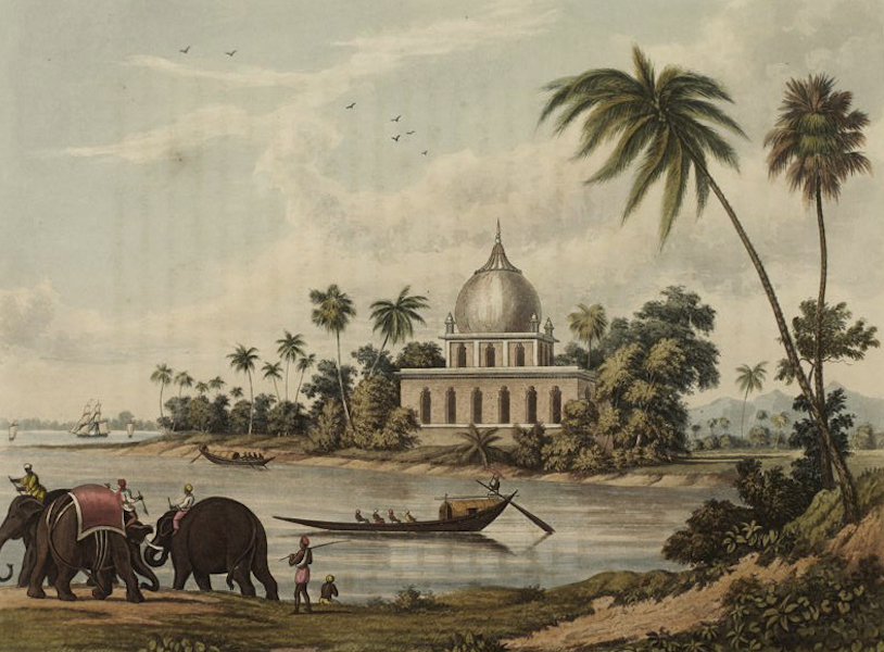 A Picturesque Tour Along the Rivers Ganges and Jumna, in India - Ancient Tomb at the confluence of the Boglipore Nulla and the Ganges (1824)