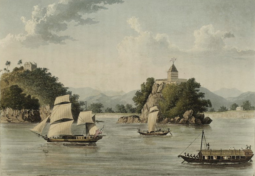 A Picturesque Tour Along the Rivers Ganges and Jumna, in India - The Fakeer's Rock at Janguira near Sultanguni (1824)