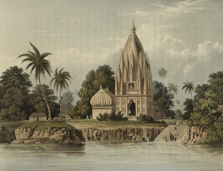 A Picturesque Tour Along the Rivers Ganges and Jumna, in India - Village and Pagoda below Patna Azimabad on the Ganges (1824)