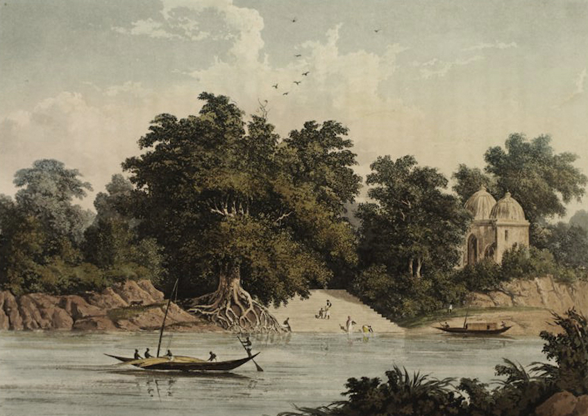 A Picturesque Tour Along the Rivers Ganges and Jumna, in India - Hindoo Ghaut on the Ganges below Benares (1824)