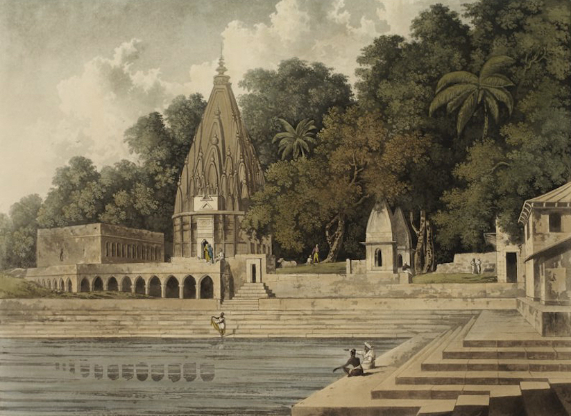 A Picturesque Tour Along the Rivers Ganges and Jumna, in India - Sacred Tank and Pagoda near Benares (1824)