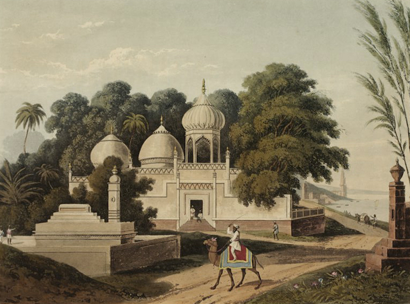 A Picturesque Tour Along the Rivers Ganges and Jumna, in India - Mahomedan Mosque and Tomb near Benares (1824)