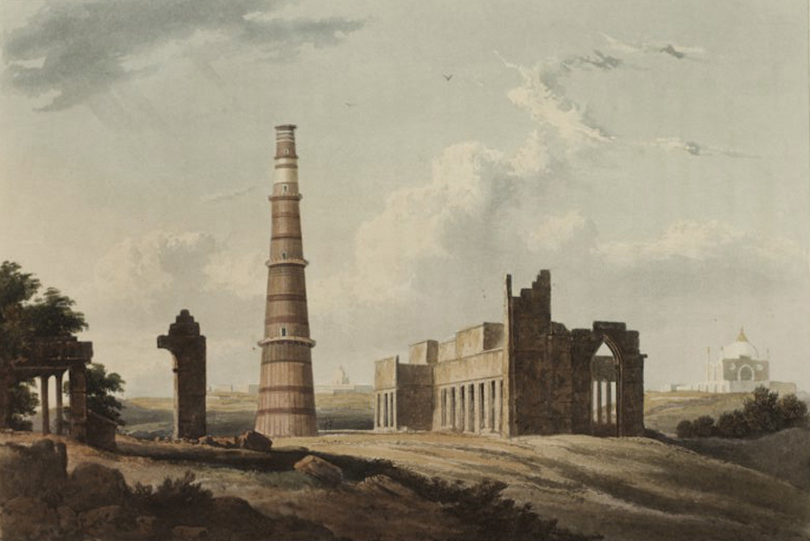 A Picturesque Tour Along the Rivers Ganges and Jumna, in India - The Cuttus Minar in the Ruins of Ancient Delhi (1824)