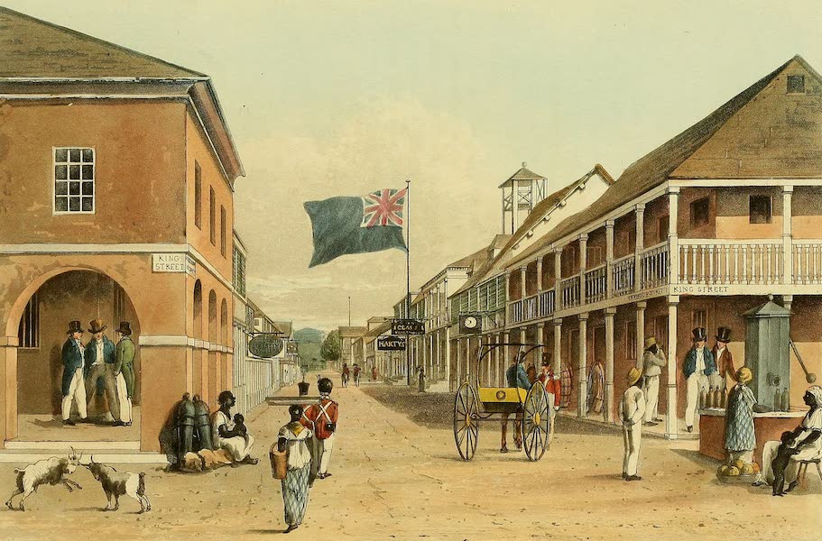 A Picturesque Tour of the Island of Jamaica - View of Harbour Street, Kingston (looking eastward) (1825)